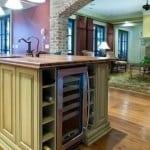kitchen with wine refrigerator